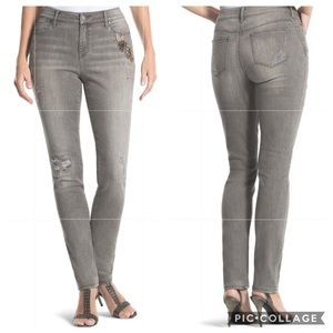 Chico's Platinum Embellished Jeggings Gray
